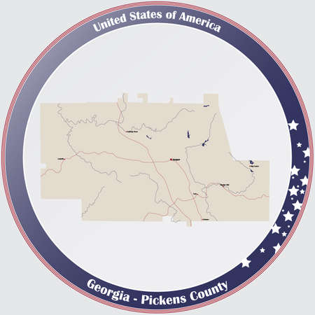 Large and detailed map of Pickens county in Georgia, USA. Ilustração