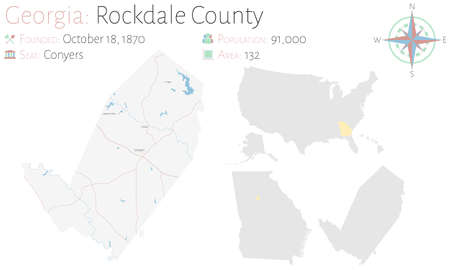 Large and detailed map of Rockdale county in Georgia, USA.