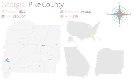 Large and detailed map of Pike county in Georgia, USA.