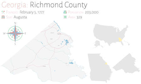 Large and detailed map of Richmond county in Georgia, USA.