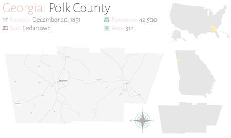 Large and detailed map of Polk county in Georgia, USA.  イラスト・ベクター素材