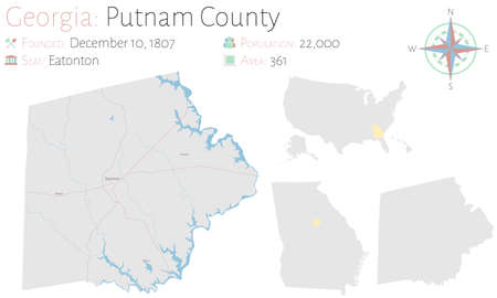 Large and detailed map of Putnam county in Georgia, USA.