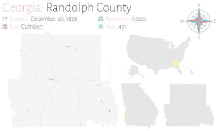 Large and detailed map of Randolph county in Georgia, USA.  イラスト・ベクター素材