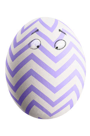 Large picture of an isolated easter egg with a stripes and eyes.