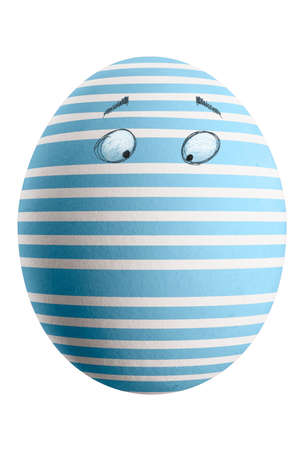 Large picture of an isolated easter egg with a stripes pattern and eyes. Banco de Imagens