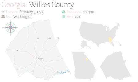 Large and detailed map of Wilkes county in Georgia, USA. Ilustração