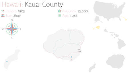 Large and detailed map of Kauai county in Hawaii, USA. Ilustração