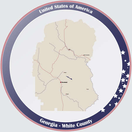Large and detailed map of White county in Georgia, USA.