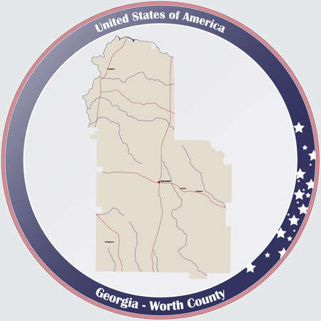 Large and detailed map of Worth county in Georgia, USA.
