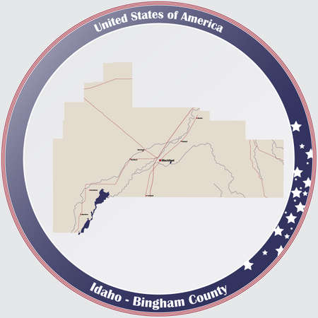 Large and detailed map of Bingham county in Idaho, USA.