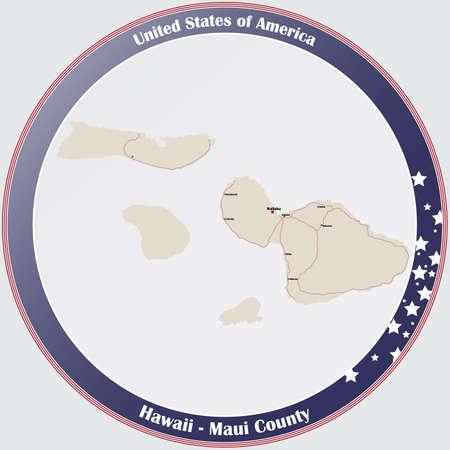 Large and detailed map of Maui county in Hawaii, USA. Ilustração
