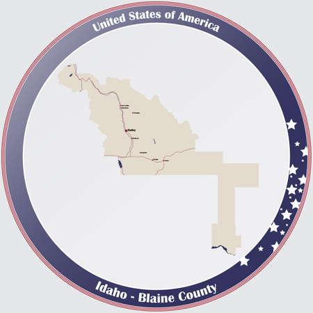 Large and detailed map of Blaine county in Idaho, USA. Ilustração