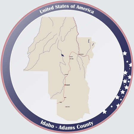 Large and detailed map of Adams county in Idaho, USA. Ilustração