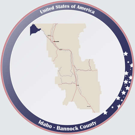 Large and detailed map of Bannock county in Idaho, USA.