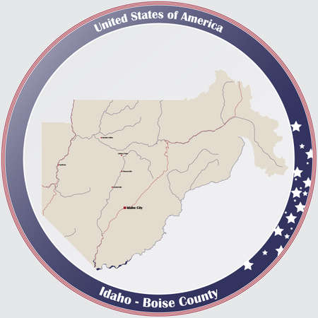 Large and detailed map of Boise county in Idaho, USA. Ilustração