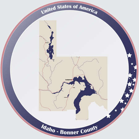 Large and detailed map of Bonner county in Idaho, USA.