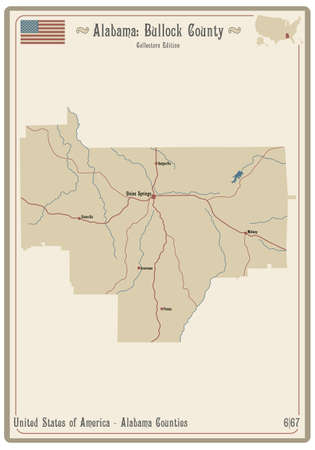 Map on an old playing card of Bullock county in Alabama, USA.