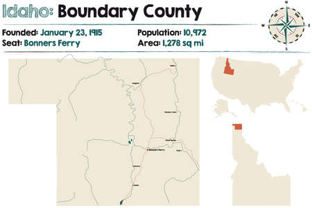 Large and detailed map of Boundary county in Idaho, USA.