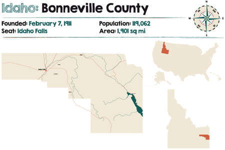 Large and detailed map of Bonneville county in Idaho, USA. Ilustração