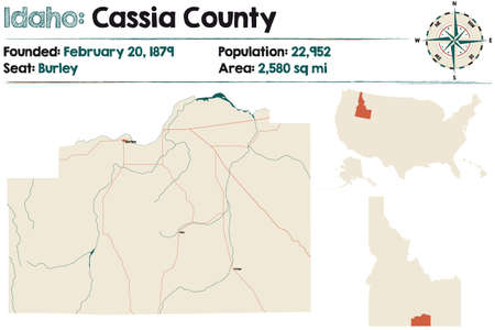 Large and detailed map of Cassia county in Idaho, USA. Ilustração
