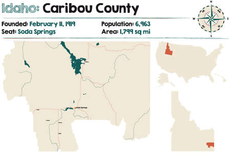 Large and detailed map of Caribou county in Idaho, USA. Ilustração