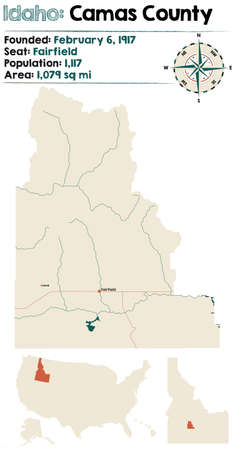 Large and detailed map of Camas county in Idaho, USA.