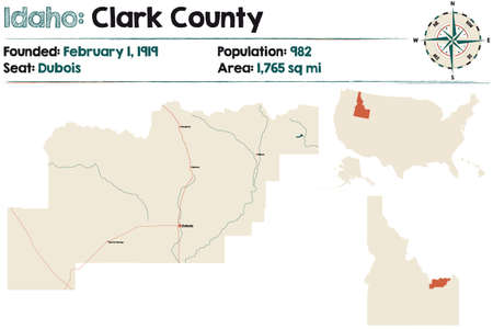 Large and detailed map of Clark county in Idaho, USA.