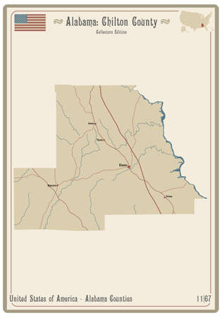 Map on an old playing card of Chilton county in Alabama, USA.