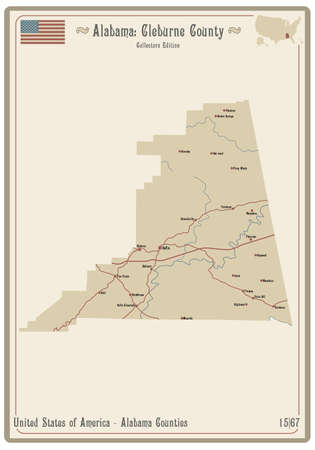 Map on an old playing card of Cleburne county in Alabama, USA.