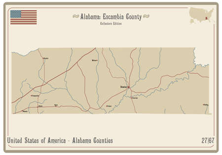 Map on an old playing card of Escambia county in Alabama, USA. Ilustração