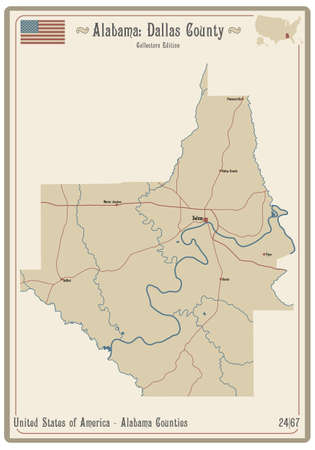 Map on an old playing card of Dallas county in Alabama, USA.