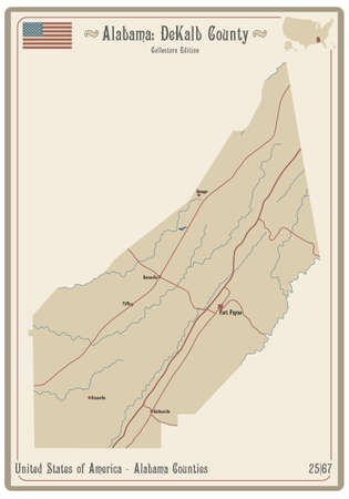 Map on an old playing card of DeKalb county in Alabama, USA.