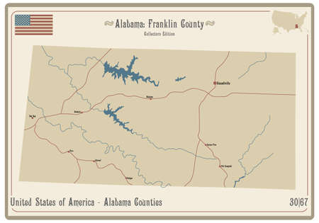 Map on an old playing card of Franklin county in Alabama, USA. Ilustração