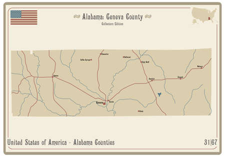 Map on an old playing card of Geneva county in Alabama, USA.