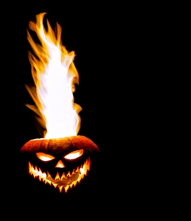 wraith: A jack-o-lantern with flames shooting out the top