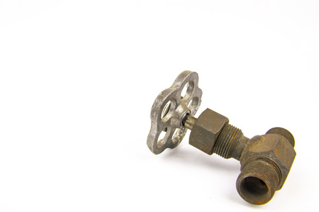 Old water tap on white background, space for text