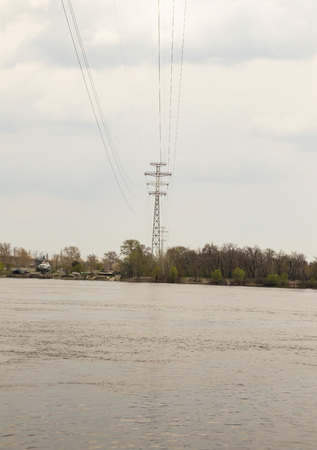 High-voltage power line over the Dnieper River Archivio Fotografico