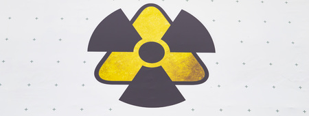 Warning sign - radiation, on a white background. Place for text. 스톡 콘텐츠