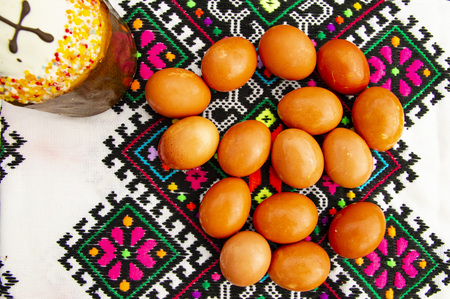Easter eggs and Easter bread on a Ukrainian towel - a holiday