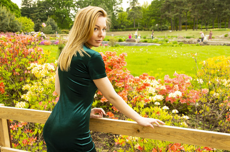 Girl blonde dress on a background of flowers in the park. Model. Beauty.