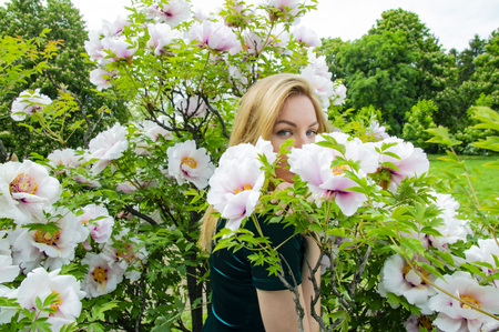 Blonde girl on a background of white flowers of a peony tree Stock fotó