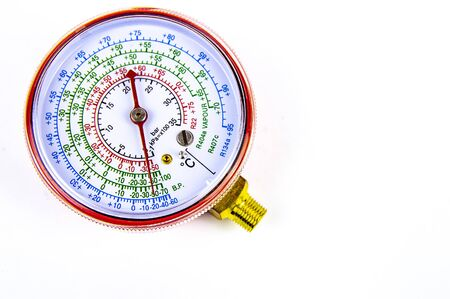 The manometer measuring gas pressure for repair of refrigerators, conditioners. Free space for text. Isolated on white background.