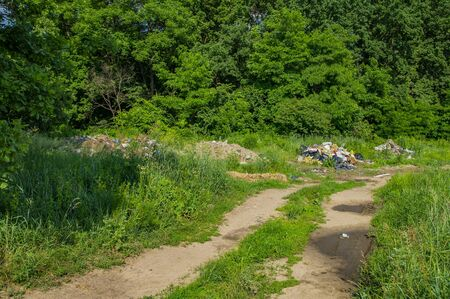 Elemental garbage dump on a green background of nature. Environment. Stock Photo