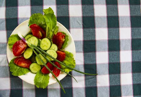 Spring vegetable salad on a checkered tablecloth. Cucumber, tomato, green salad, onion. Foto de archivo