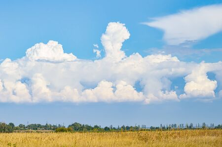 Skyline with white clouds on a background of blue sky. Background image. Place for text. Stockfoto