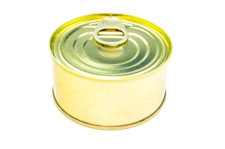 Tin can on a white background. Place for text.