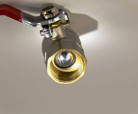 Water ball valve. Plumbing equipment. Plumbing repair. Place for the test.