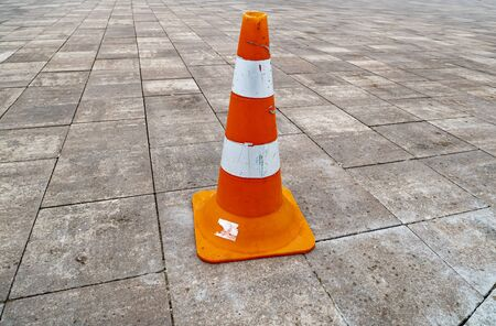 Plastic cone parking limiter. Road traffic.