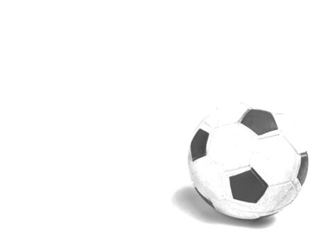 Soccer ball on a white background. Sport. Championship. Europe. World. Background image. Place for text. Black and white image.