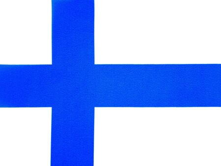 National flag of Finland on a white background. Elections. Voting. The country. Place for text.